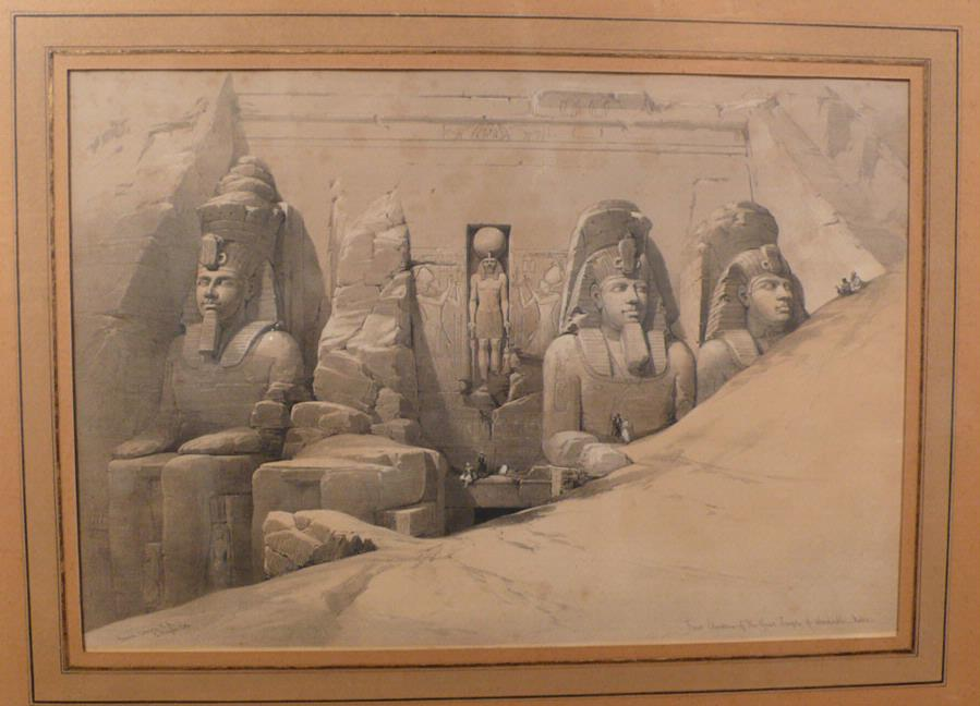 Original Hand Colored Lithograph Abu Simbel