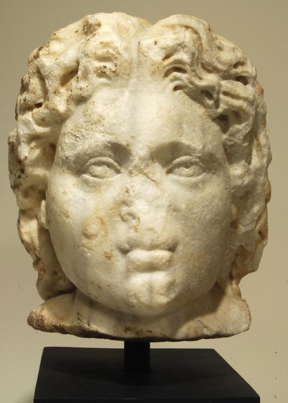 Roman Marble Male Head in the guise of Alexander The Great