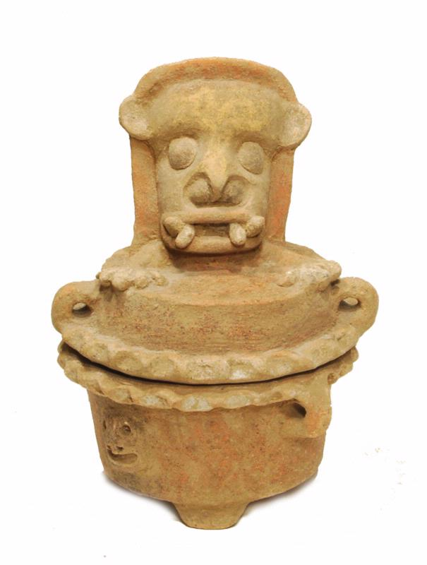 Quiche Maya Lidded Jaguar Headed Vessel