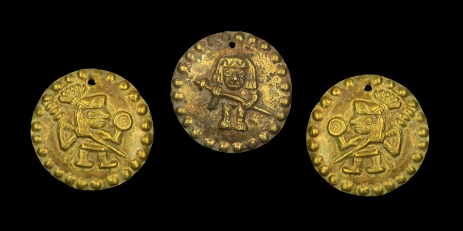 Three Moche Gold Applique Discs with Warriors