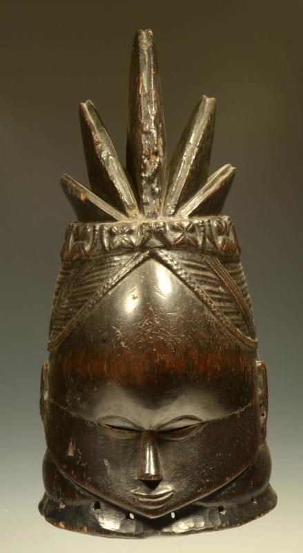 Mende Wood Carved Bundu Helmet Mask