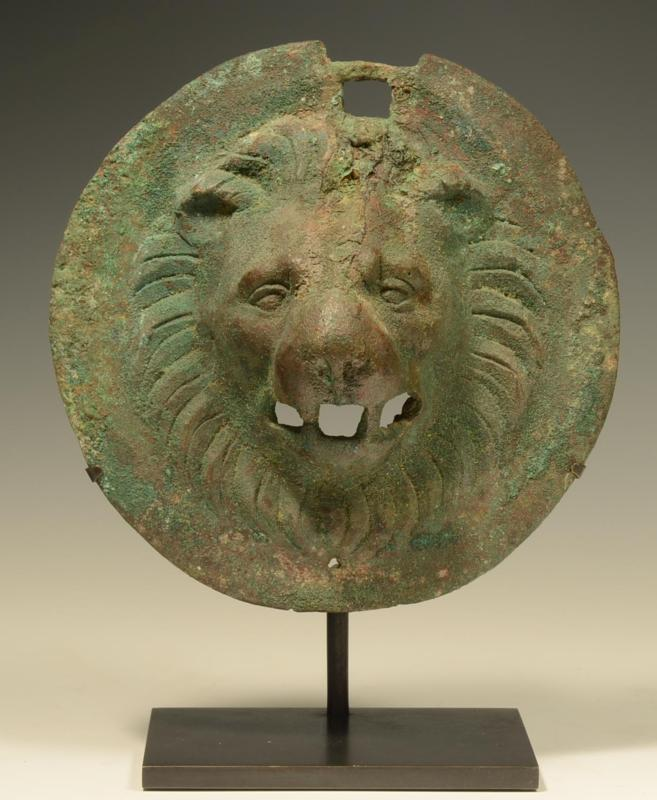 Roman Bronze Lion Head Roundel