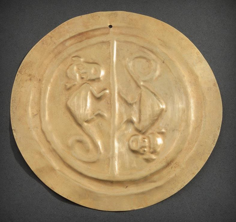 Narino Gold Circular Disc with Monkeys