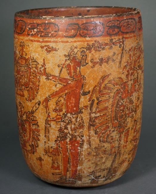 Mayan Pottery Polychrome Red Band Tepeu I Style Cylinder