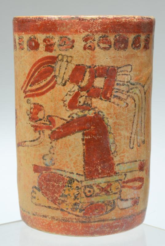 Mayan Polychrome Cylinder With Young Heroes