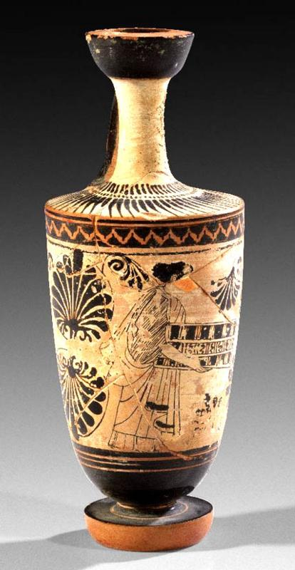 Attic Black-Figured White Ground Lekythos  by the Carlsruhe Painter
