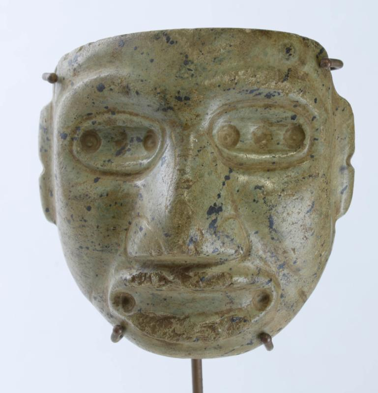Mezcala Serpentine Mask with Drilled Eye Pupils