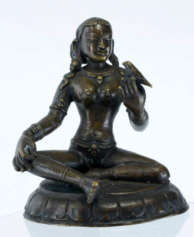 Nepal Bronze Image of a Devi with a Bird