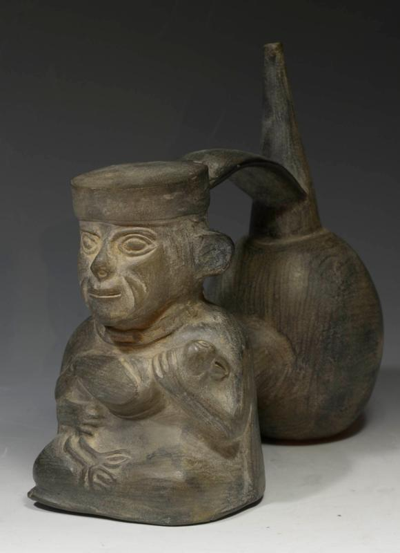 Chimu Double Globular Figural Whistling Vessel
