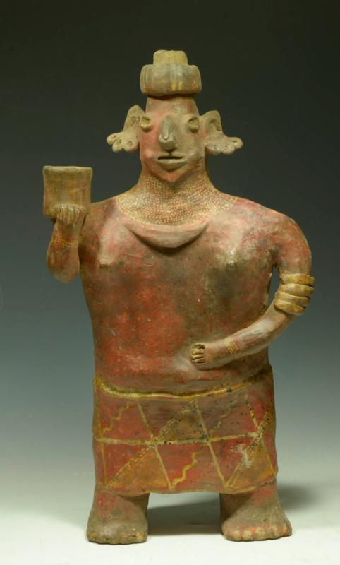 Tall Nayarit Ixlan Del Rio Pottery Standing Female