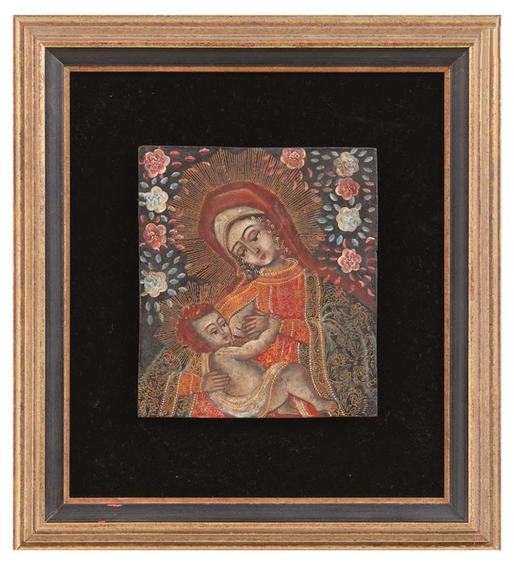 Spanish Colonial Retablo, Mary and child
