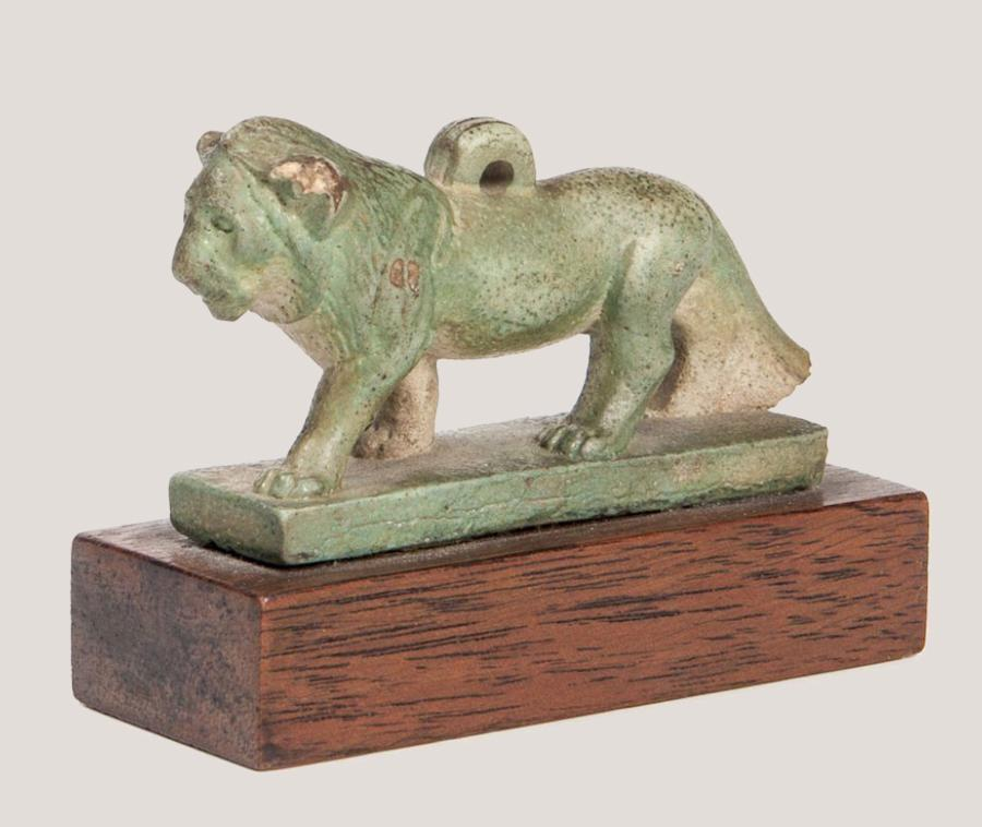 Ancient Egyptian Faience Amulet of a Striding Lion