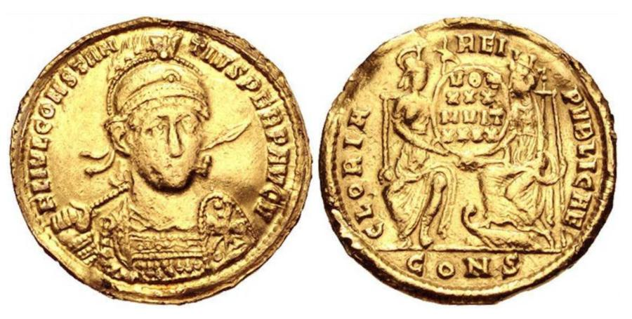 Byzantine Gold Solidus with the Emperor Constantius II