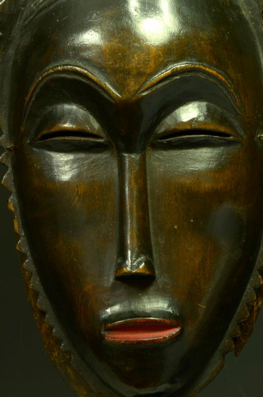 Baule Guro Yaure Wood Carved Face Mask