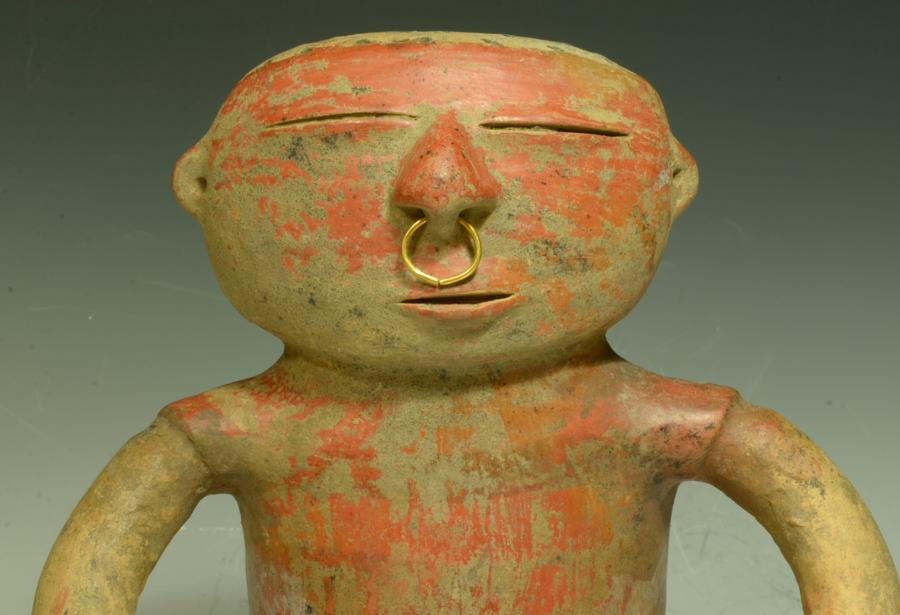 Quimbaya Pottery Anthromorphic Seated Male Figure