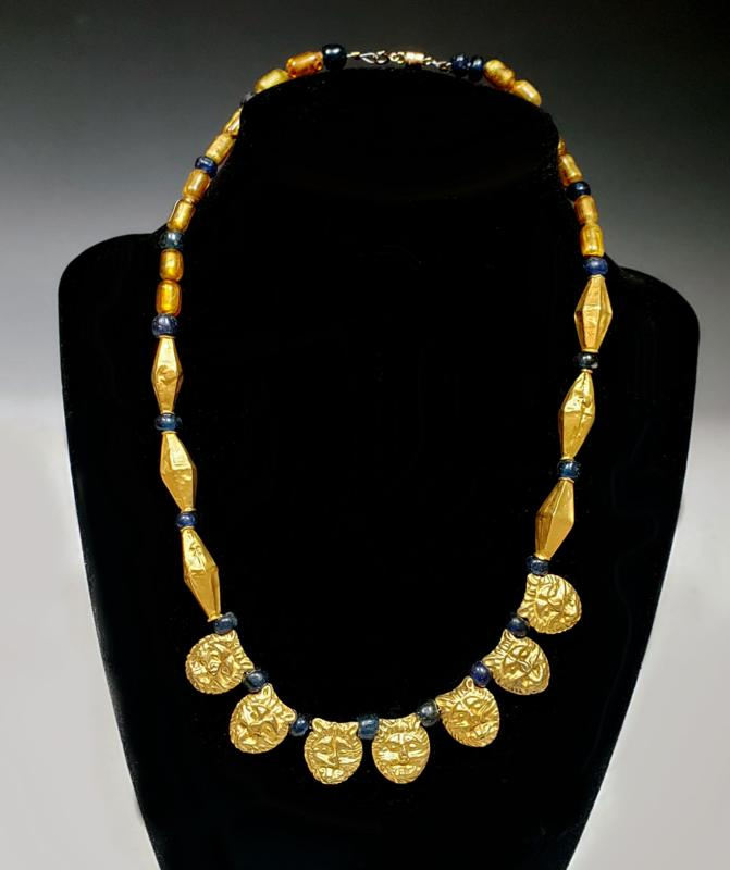 Achaemenid Necklace with Collar of 7 gold lion heads