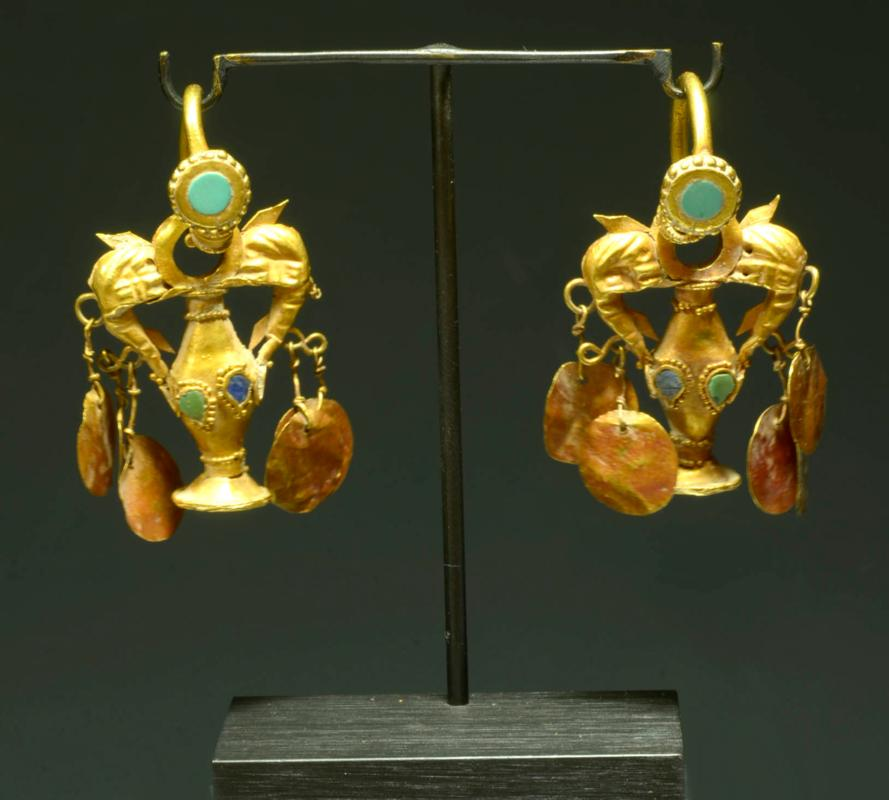 Roman Gold and Stone Elaborate  Earring