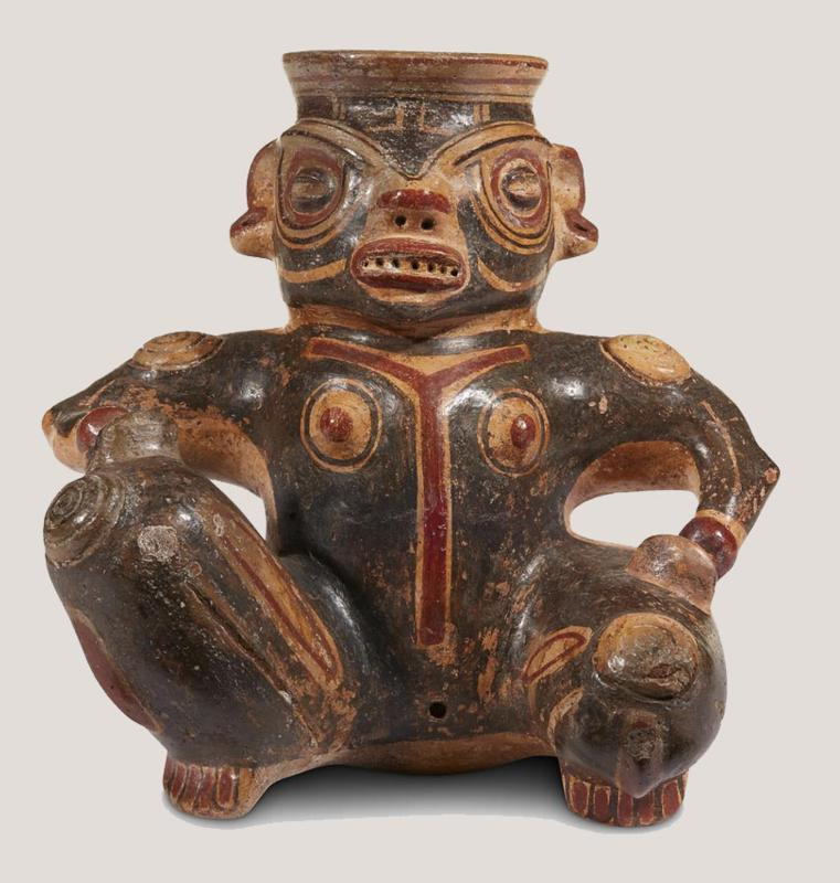 Costa Rican Polychrome Painted Anthropomorphic Vessel