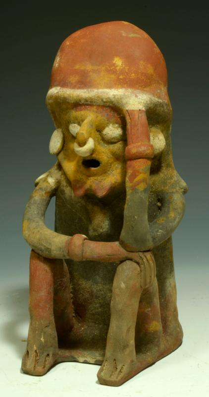 Fine Bahia Pottery Polychrome Seated Figure