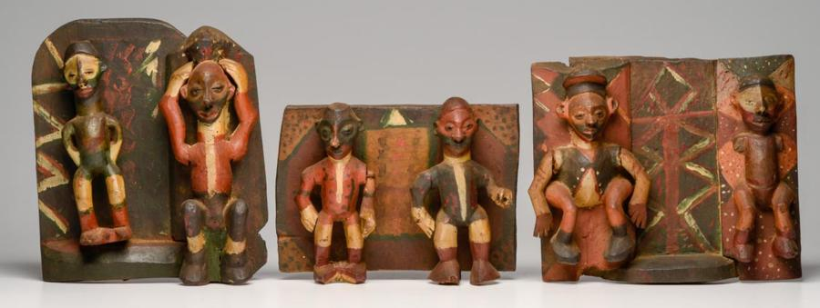 Pende Polychrome Painted Figural Wood Plaques