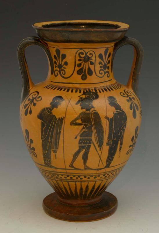 Attic Black Figure Miniature Neck Amphora attributed to the Light-Make Class