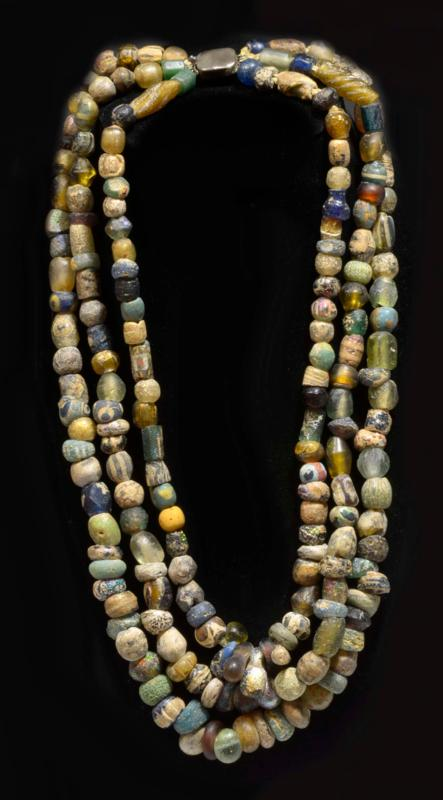 Ancient Romano Egyptian Triple Strand Glass Bead Necklace
