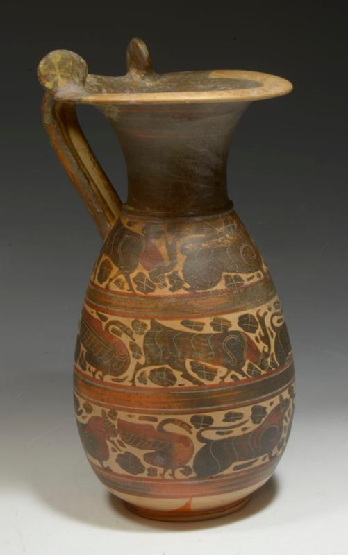 Fine Corinthian Pottery Olpe with Animal Friezes