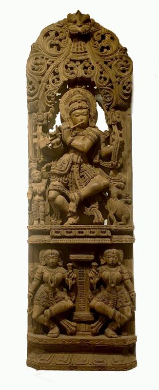 Indian Carved Wood Figural Panel with Krishna Playing the Flute
