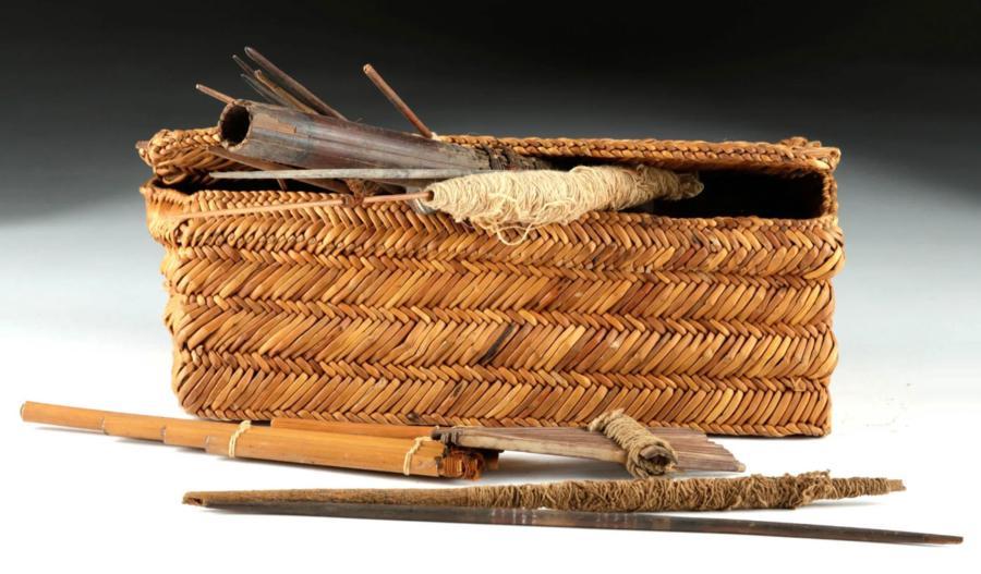 Chancay Textile Weaver Basket with Contents