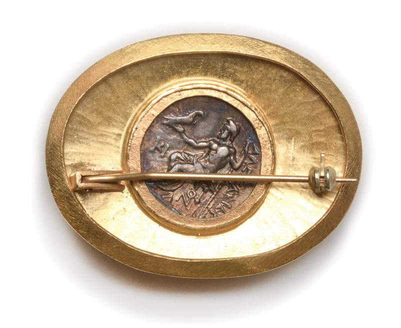 Ancient Alexander Silver Coin in Gold Brooch