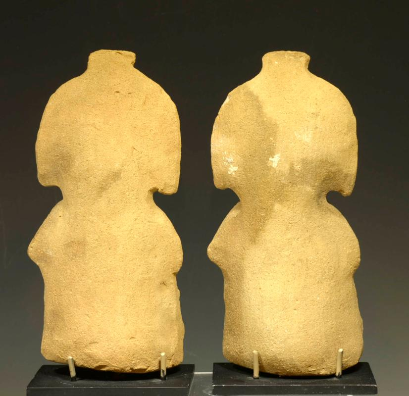 Pre Columbian Mayan Pair of Fine Molded Ceramic Figures (2)