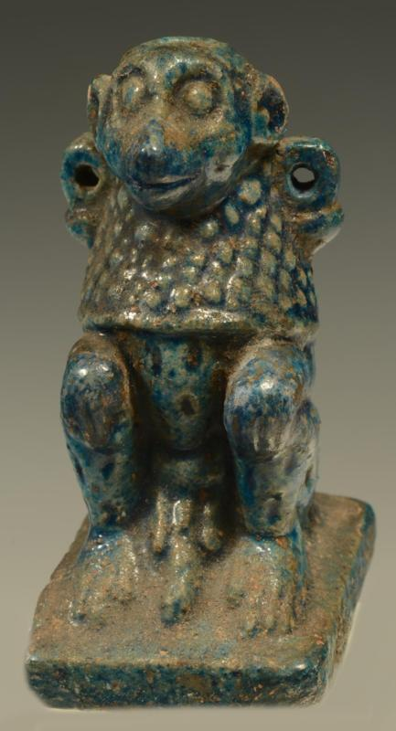Egyptian Glazed Faience Composition Baboon Vessel