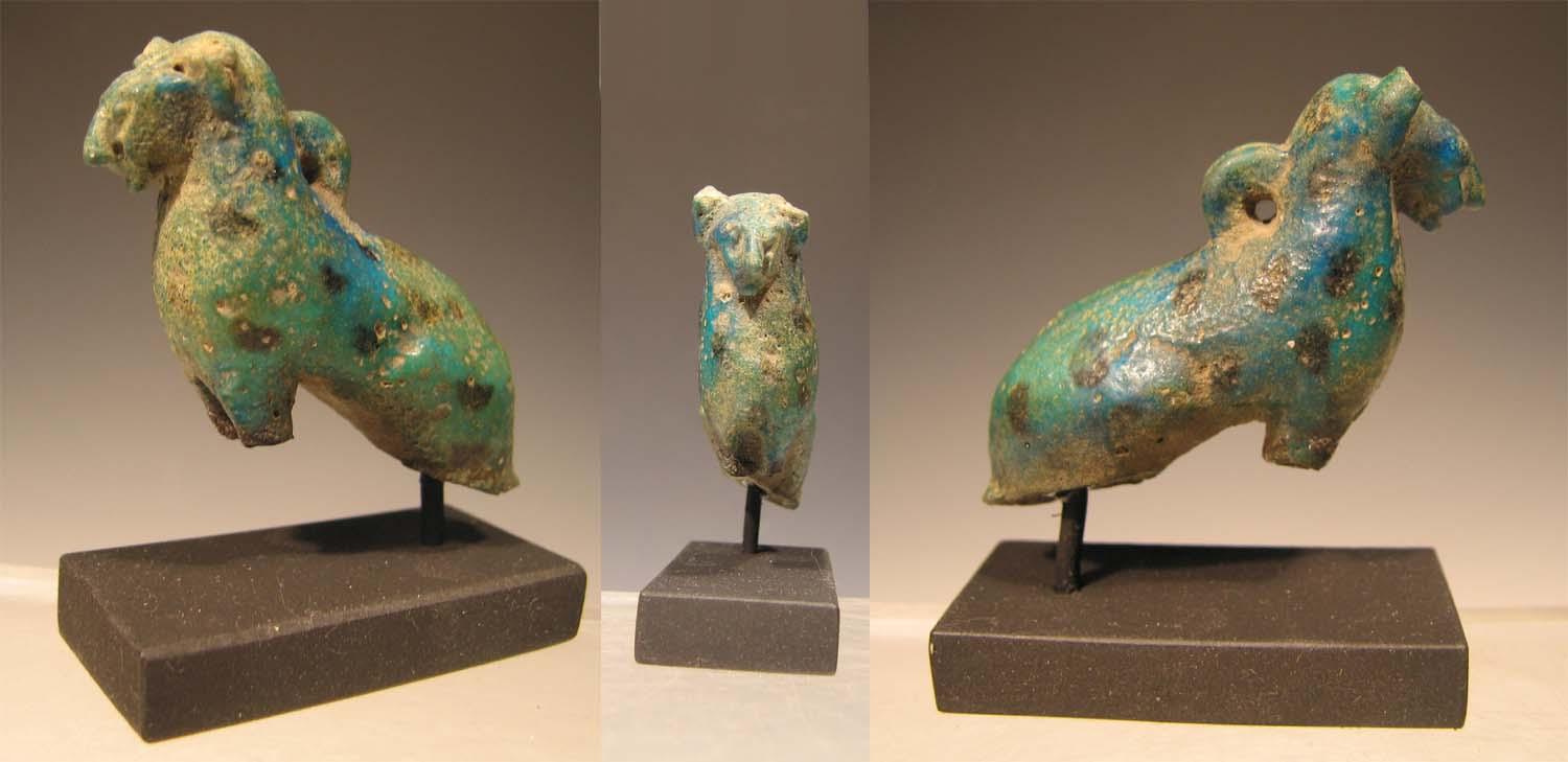 Egyptian Middle Kingdom Turquoise Black Glazed Composition Amulet Of A Cat Ca 2000 Bc Modeled Seated Upright And Decorated In With